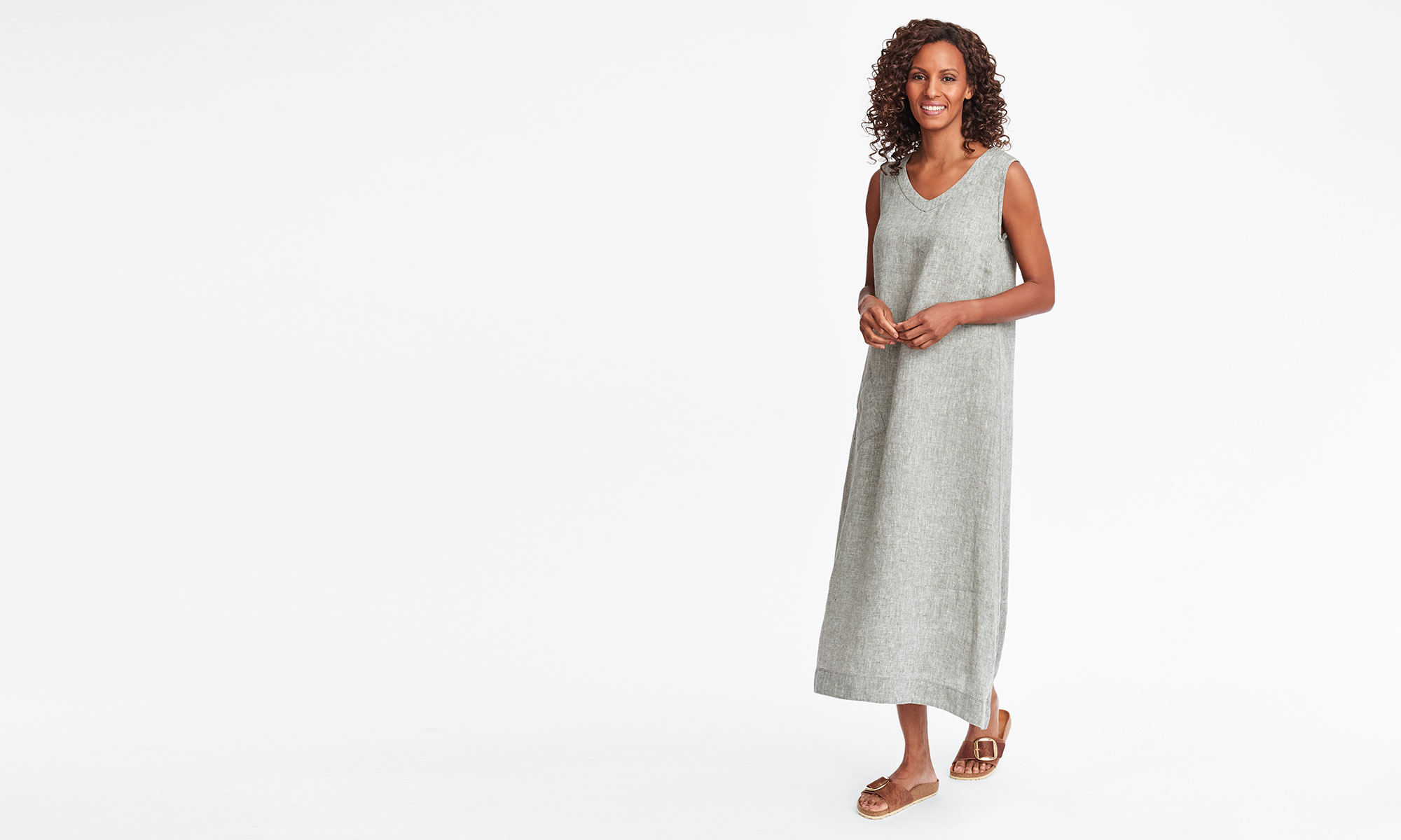 flax womens linen maxi dress