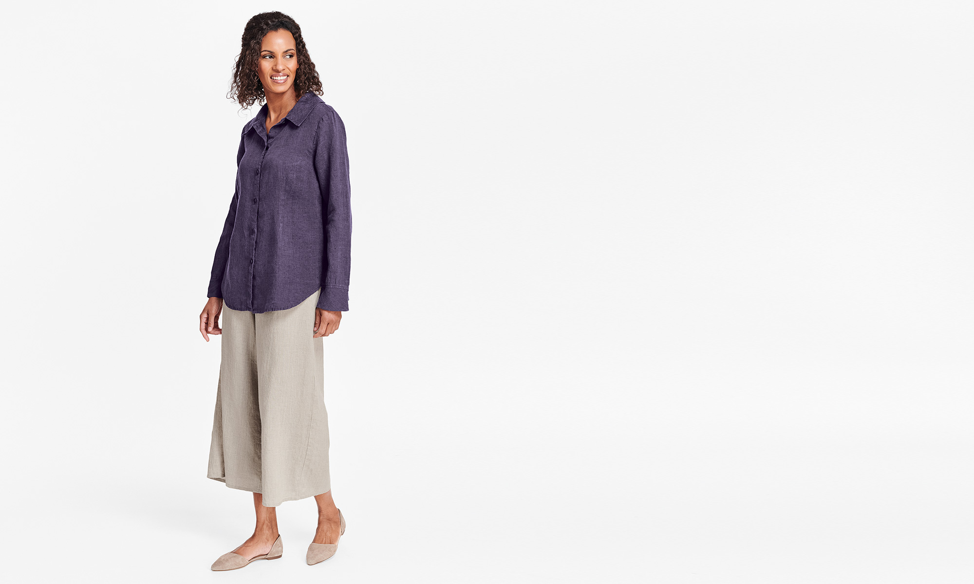 flax womens linen purple blouse and natural pants