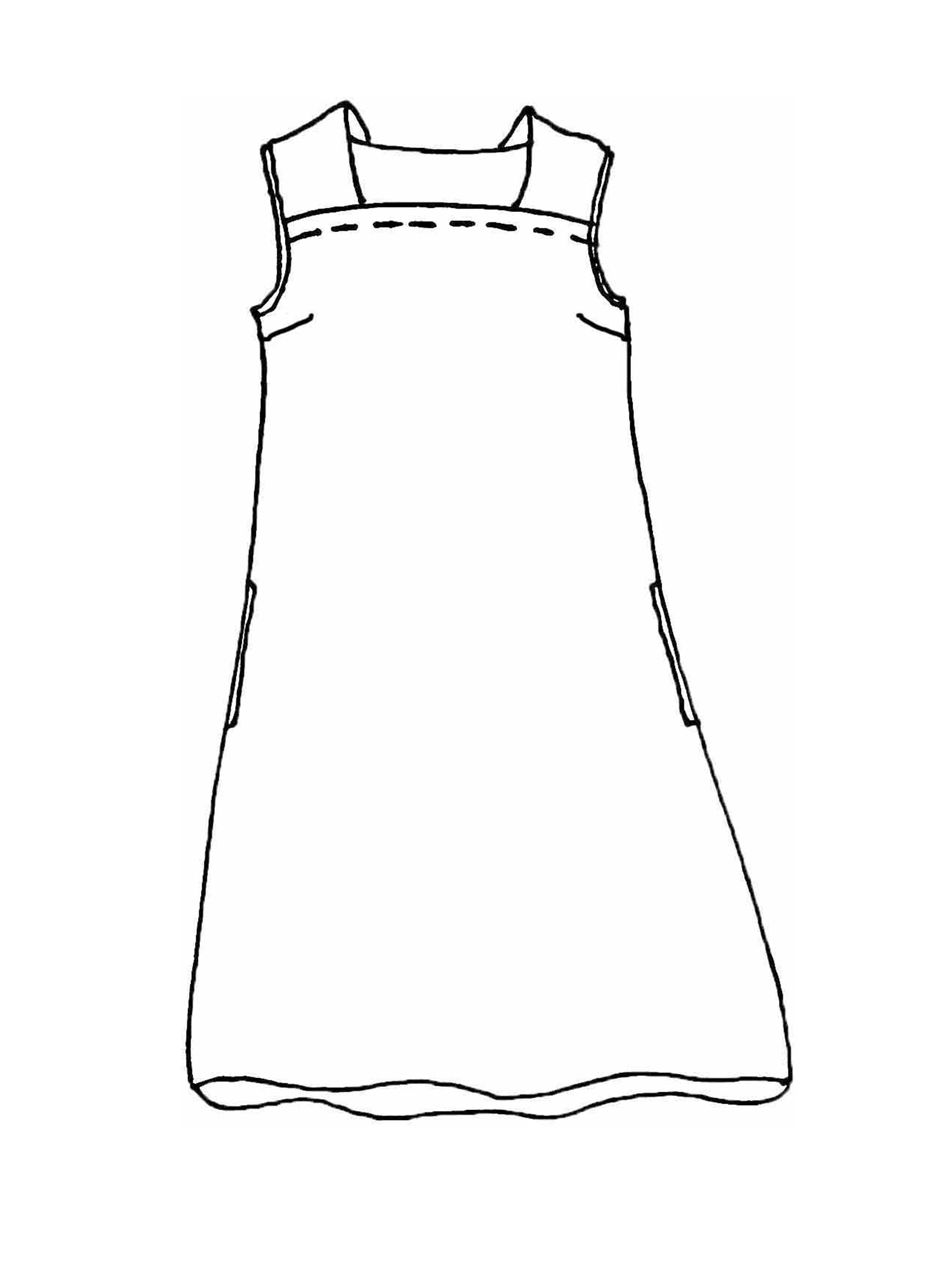 Square Neck Dress sketch image