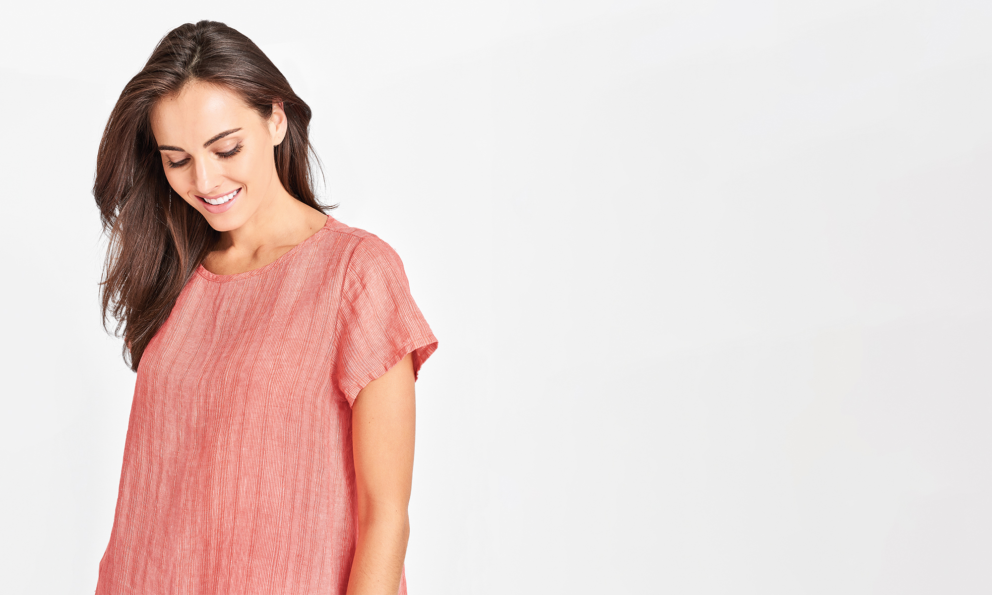 sunshine flax linen top in coral